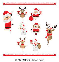 Santa Claus, reindeer, snowman