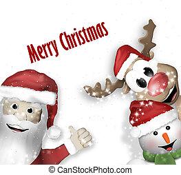 Santa Claus Reindeer Snowman Christmas