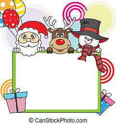 Santa Claus, reindeer, snowman with poster
