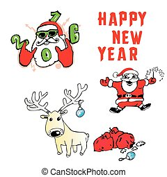 Santa Claus Reindeer with gifts new year