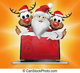 Santa Claus Reindeers Electronics Christmas Thumbs Up 3d