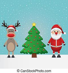santa claus, rendier, en, kerstboom