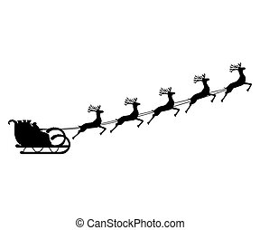 Santa Claus rides in a sleigh in harness