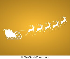 Santa Claus rides in a sleigh