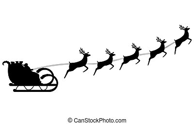 Santa Claus Rides In A Sleigh Harness On The Reindeer