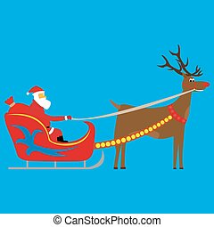 Santa Claus rides in a sleigh in harness vector