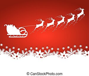 Santa Claus rides in a sleigh reindeer on red background with sn