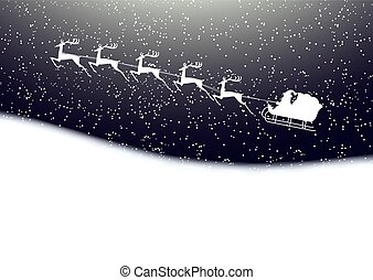 Santa Claus rides in a sleigh reindeer on winter background