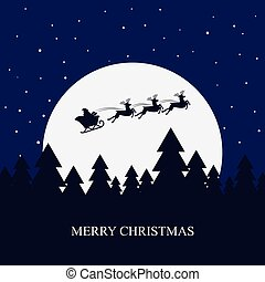 Santa Claus rides in a sleigh with their reindeer