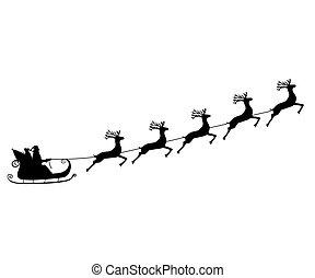 Santa Claus rides on the reindeer