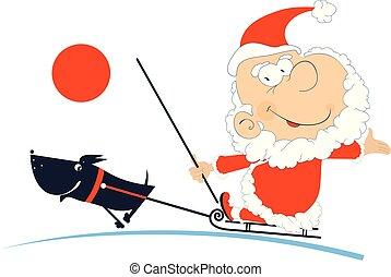 Santa Claus rides on the sled dog isolated illustration