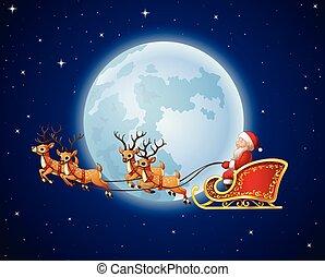 Santa Claus rides reindeer sleigh against a full moon background