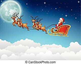 Santa Claus rides reindeer sleigh flying in the sky - Vector...