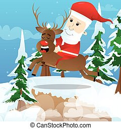 Santa Claus riding a reindeer.