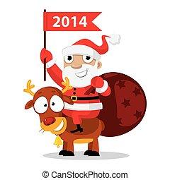 Santa Claus riding a reindeer