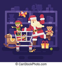 Santa Claus riding a shopping cart with his elf in a toy supermarket. Christmas flat illustration