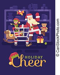 Santa Claus riding a shopping cart with his elf in a toy supermarket. Christmas flat illustration card