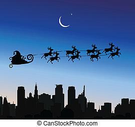 Santa Claus riding his sleigh over a city