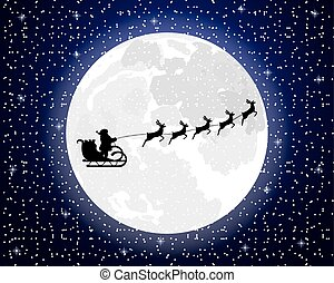 Santa Claus riding on a reindeer on a background of the full moon