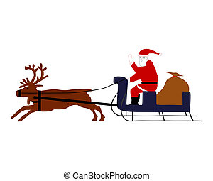 Santa Claus riding on his reindeer sleigh