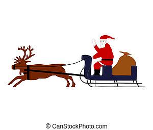 Santa Claus riding on his reindeer sleigh