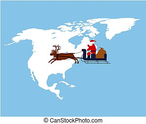Santa Claus riding on his reindeer sleigh high above northamerica