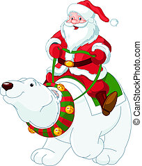Santa Claus riding on polar bear - Santa Claus riding on the...