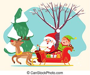 Santa Claus Riding Sleigh with Elf, Christmas Time