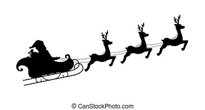 Santa Claus riding with his deers. Santa Claus Driving in a Sledge. Vector