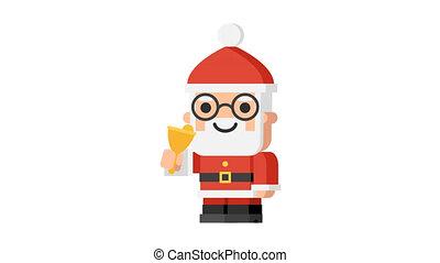 Santa Claus ringing bell and says ho ho ho Christmas character