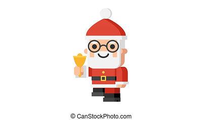 Santa Claus ringing bell and walking Christmas character