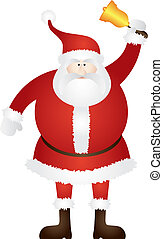 Santa Claus Ringing Golden Bell Illustration