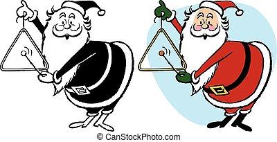 Santa Claus Ringing Triangle