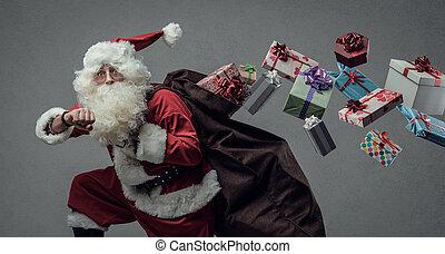 Santa Claus running and delivering gifts - Funny Santa Claus...