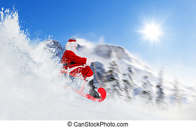 Santa Claus running downhill on sledge, Alpine panorama on background