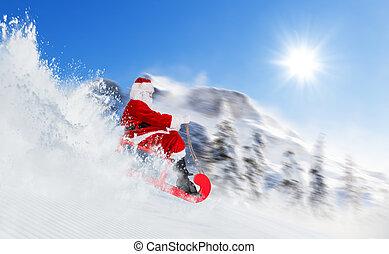 Santa Claus running downhill on sledge, Alpine panorama on...