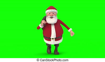 Santa Claus running on green background. Seamless looping 3d animation. Front View