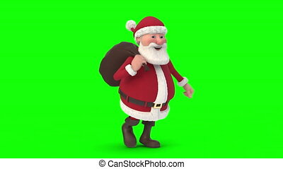 Santa Claus running on green background. Seamless looping 3d animation