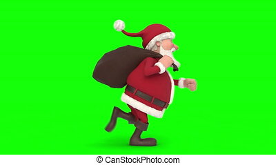 Santa Claus running on green background. Seamless looping 3d animation. Side View