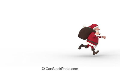 Santa Claus running on white background across the screen. Seamless looping 3d animation