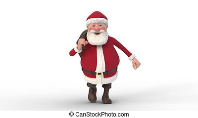 Santa Claus running on white background. Seamless looping 3d animation. Front View