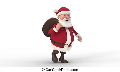 Santa Claus running on white background. Seamless looping 3d animation