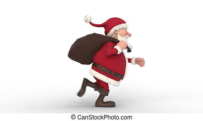 Santa Claus running on white background. Seamless looping 3d animation. Side View