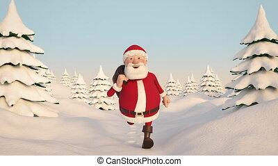Santa Claus running through snowy landscape. Frontal View....