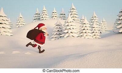 Santa Claus running through snowy landscape. Side View