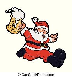 Santa claus running with a beer mug in hand