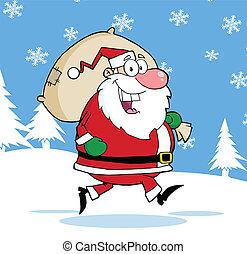Santa Claus Running With Bag