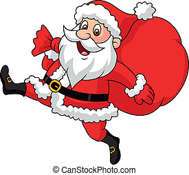 Vector illustration of Santa Claus cartoon running with the bag of the presents