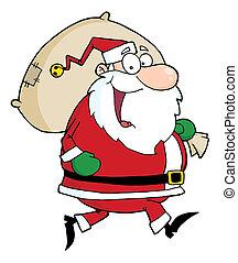 Santa Claus Runs With Bag