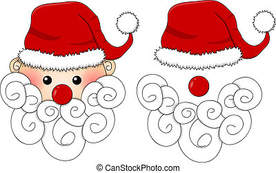 Santa Claus, Santa Hat, Red Nose and White Beard isolated on White Background.